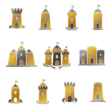 Ancient Citadels emblems set. Heraldic vector design elements collection. Retro style label, heraldry logo. Ilustrace