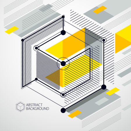 Vector of abstract geometric 3D cube pattern and yellow background. Layout of cubes, hexagons, squares, rectangles and different abstract elements.