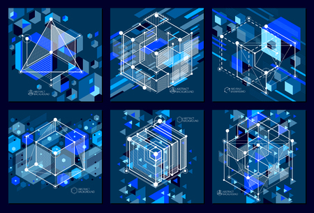Engineering technology vector dark blue wallpapers set made with 3D cubes and lines. Engineering technological wallpaper made with honeycombs. Abstract technical background. Illustration