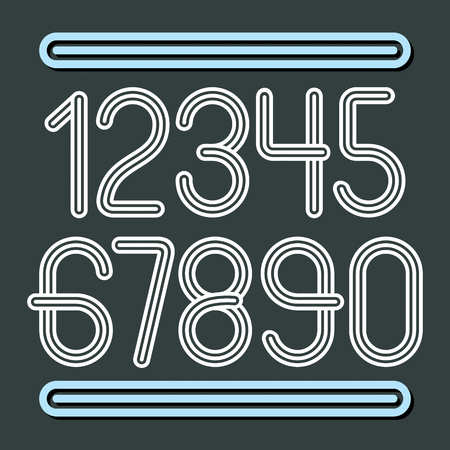 Vector trendy numbers collection. Retro numerals from to 9 best for use in poster creation. Created using triple stripy, parallel lines.