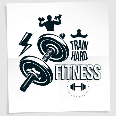 Bodybuilding motivation vector poster created with disc weight dumbbell and bodybuilder body silhouette. Train hard lettering. Illusztráció