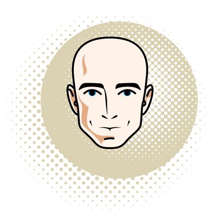 Cara de hombre, cabeza humana. Carácter vectorial, guapo calvo.