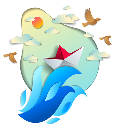 Paper ship swimming in sea waves, origami folded toy boat floating in the ocean with beautiful scenic seascape with birds and clouds in the sky, vector illustration. Stock Illustratie