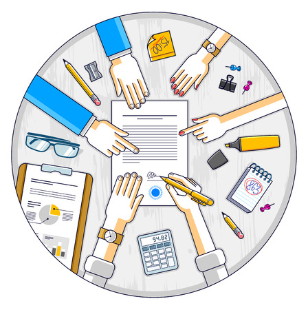 Businessman signs contract paper document or bank customer write a sign on financial form of money credit and employees helps him and explains the terms of loan, top view of people hands. Vector.