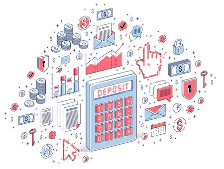 Idea calcolatrice isolato su sfondo bianco, concetto di deposito. Illustrazione isometrica di finanza vettoriale 3d con icone, grafici statistici ed elementi di design.