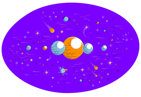 Fantastic planets in undiscovered galaxy with stars, comets, asteroids and other elements. Explore universe, breathtaking space science. Thin line 3d vector illustration isolated on white.