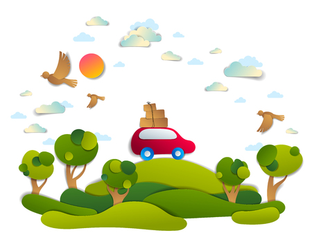 Car travel and tourism, red minivan with luggage riding off road in green meadows among trees, birds and clouds in the sky, paper cut vector illustration of auto in scenic nature landscape.