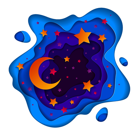 Beautiful fairy night with deep blue and violet curve line abstract shapes and crescent moon with shiny stars, vector modern style paper cut 3d illustration.