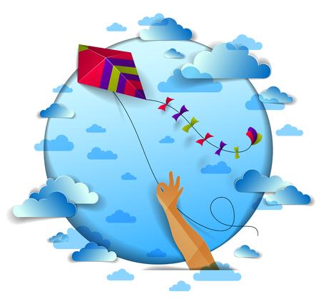 Passi l'aquilone della tenuta sopra il cielo nuvoloso, la libertà e il concetto emozionale di facilità, illustrazione 3d del taglio della carta di stile moderno di vettore. Vettoriali