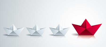 Concepto de liderazgo visualizado con juguetes de barco doblado de origami, uno de ellos está nadando en el frente y liderando el grupo del equipo, vector ilustración realista 3d de estilo moderno.