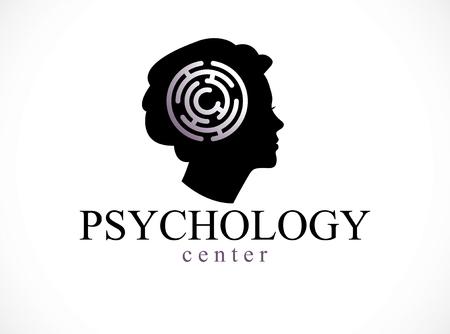 Logotipo o icono conceptual de salud mental y psicología creado con perfil de rostro de mujer y laberinto, psicoanálisis y psicoterapia del concepto de mente humana. Vector diseño clásico simple.
