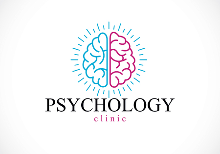 Human anatomical brain, mental health psychology conceptual logo or icon, psychoanalysis and psychotherapy concept. Vector simple classic design. Illustration