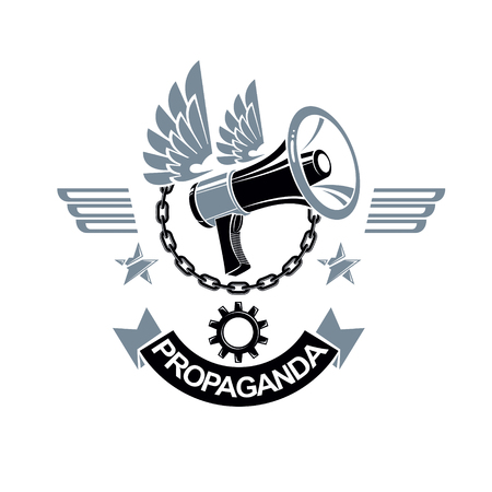 Vector winged  composed with megaphone equipment surrounded by iron chain and engineering cog wheel. Propaganda as the method of ideology imposing