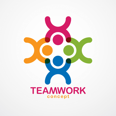 Teamwork businessman unity and cooperation concept created with simple geometric elements as a people crew.  Friendship dream team, united crew colorful design. Illustration