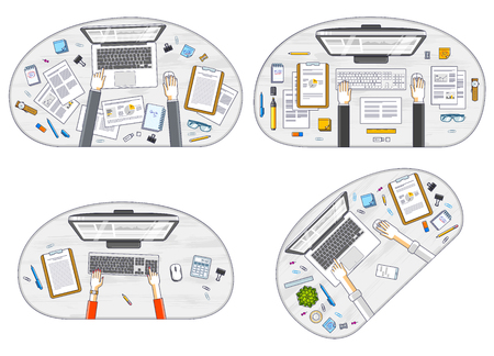 Office employees or entrepreneurs work desks workplaces with hands and PC computers and diverse stationery objects for work, top view. All elements are easy to use separately. Vector set. 向量圖像