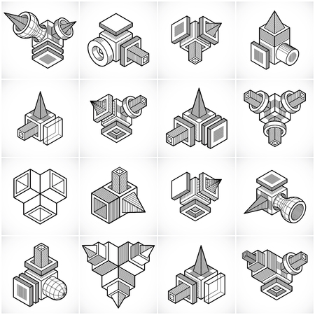 Abstract vectors set, isometric dimensional shapes collection. Illustration