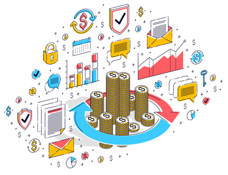 Money circulation, return on investment, currency exchange, cash back, money refund, concepts can be used. Vector 3d isometric business illustration with icons, stats charts and design elements.