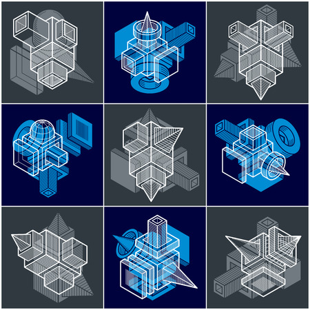 3D designs, set of abstract vector shapes. Illustration