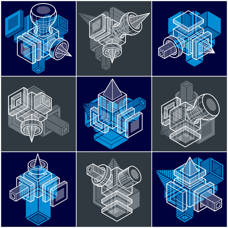 3D engineering vectors, collection of abstract shapes. Illustration