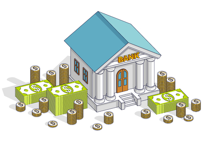 Banking theme cartoon, bank building with dollars and coin stack isolated over white background. Isometric vector business and finance illustration, 3d thin line design.