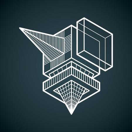 Abstrakte isometrische dimensionale Form des Vektors, die unter Verwendung geometrischer Figuren hergestellt wird.