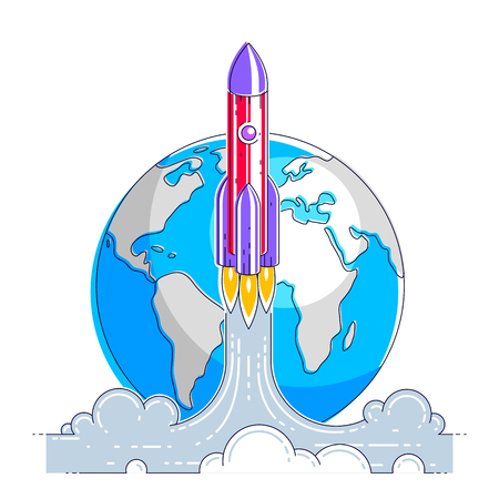 Rocket launch into undiscovered space with planet earth in background. Explore universe, breathtaking space science. Thin line 3d vector illustration isolated on white.