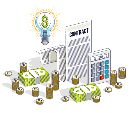 Financial contract concept, paper document and cash money stacks with calculator and light bulb idea isolated. Isometric vector business and finance illustration, 3d thin line design. Illustration