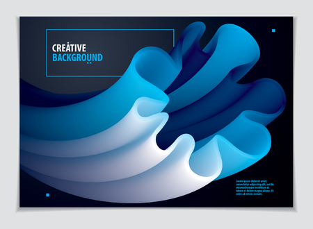 3d flower shape gradient color shape, vector abstract art element. Perfect for gift card, cover, poster or brochure. Bright color wave dimensional object.