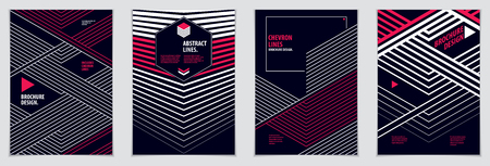 Minimal flyers, booklets, annual reports cover templates. Web, commerce or events vector graphic design templates set. Covers with minimal design. A4 print format. Illustration