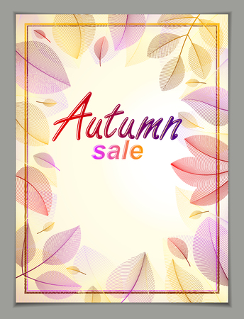 Autumn vertical banner design, vector yellow and red leaves floral beautiful background, Autumn Sale, advertising poster, brochure or flyer design. Stylish classy botanical drawing, environment.