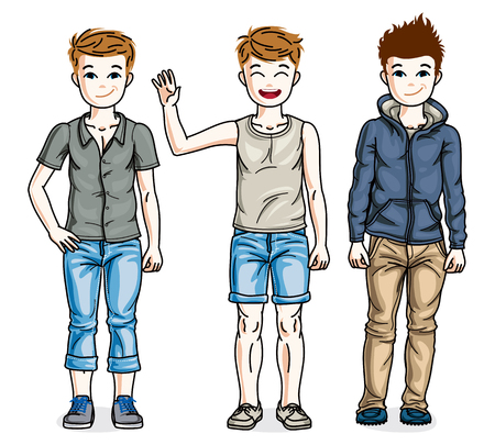 Cute little boys children standing wearing different casual clothes. Vector kids illustrations set. Illustration