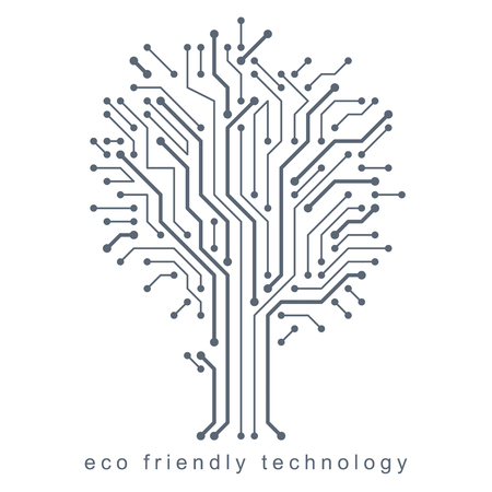 Vector illustration of tree created with wireframe and lines connected as branches. Eco friendly technology concept.