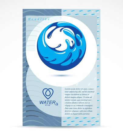 World water day presentation poster for use in mineral water advertising, March 22. Save water idea, blue Earth with sea and ocean waves.
