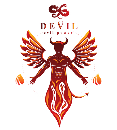 Vector individual, mystic character made with wings and emerging from fire. Demonic infernal creature, horned wicked Lucifer.