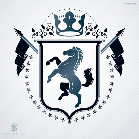 Vector heraldic coat of arms decorated in vintage award design. Vettoriali