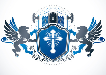 Retro vintage Insignia created using vector design elements like religious cross, hatchets, ancient castle and mythic gryphon.