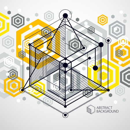 Abstract vector geometric isometric yellow background. Mechanical scheme, vector engineering drawing with cube and geometric mechanism parts.