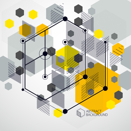 Technical blueprint, vector yellow digital background with geometric design elements, cubes. Engineering technological wallpaper made with honeycombs. Illustration