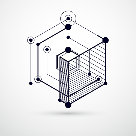 Trend isometric geometric pattern black and white background with bright blocks and cubes. Technical plan can be used in web design and as wallpaper or background. Perfect background for designs