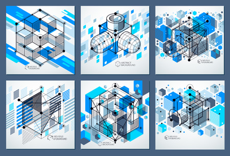 Template 3D blue design layout for brochures set , flyer , poster, advertising, cover, vector abstract modern background. Composition of cubes, hexagons, squares, rectangles and other elements.