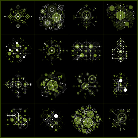 Set of vector abstract green backgrounds created in Bauhaus retro style using honeycombs and circles. Modern geometric composition can be used as templates and layouts.