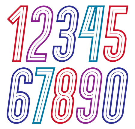 Trendy retro italic tall numbers collection, vector numeration, for use as vintage poster design elements Vecteurs