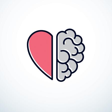 Concepto de corazón y cerebro, conflicto entre emociones y pensamiento racional, trabajo en equipo y equilibrio entre alma e inteligencia. Ilustración de vector