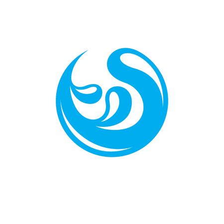 Ocean freshness theme vector symbol, water wave illustration. Water purification concept. Illustration