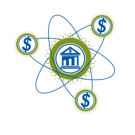 Banking conceptual unique vector symbol. Banking system. The Global Financial System. Circulation of Money. Illustration