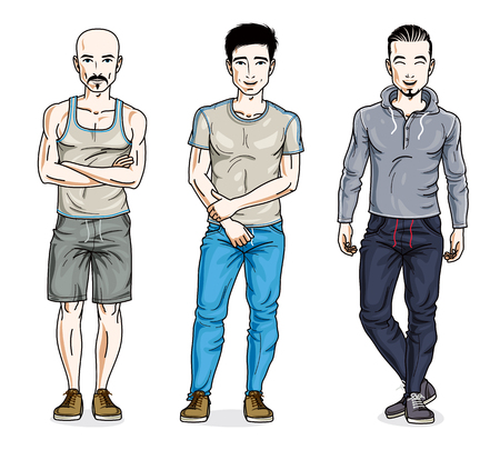 Confident handsome men group standing in stylish sportswear. Vector people illustrations set. Lifestyle theme male characters.