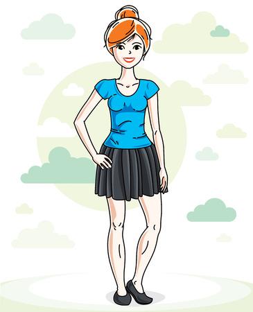 Hermosa joven pelirroja de pie sobre un fondo con nubes de cielo azul y vistiendo ropa casual de moda. Vector ilustración humana.