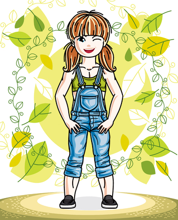 Little red-haired girl toddler standing on background of spring landscape and wearing fashionable casual clothes. Vector attractive kid illustration. Fashion and lifestyle theme cartoon.  イラスト・ベクター素材