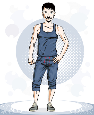 Handsome brunet young man posing. Vector illustration of sportsman with beard and whiskers. Work out and training theme.