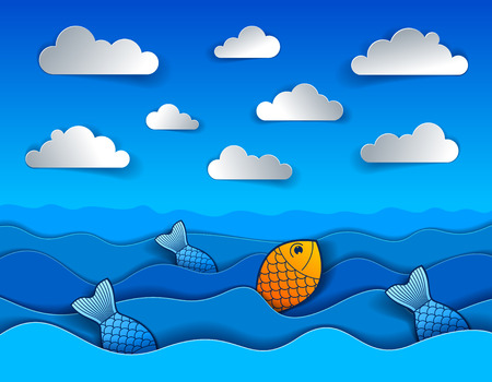 Beautiful seascape with funny cartoon fishes in paper cut style, curvy lines of waves and clouds in the sky, perfect modern vector illustration. Illustration